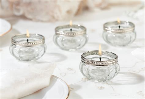 Home Decor Artificial Flowers by Glass And Silver Tealight Holders Set Of 4