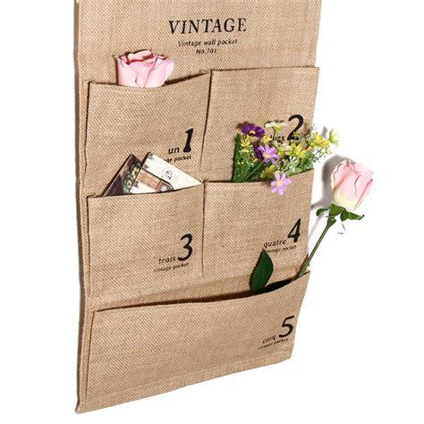 Organizer Penyimpan Baju Storage Bag practical 5 pockets organizer jute naturally letters wall hanging storage bags organizer
