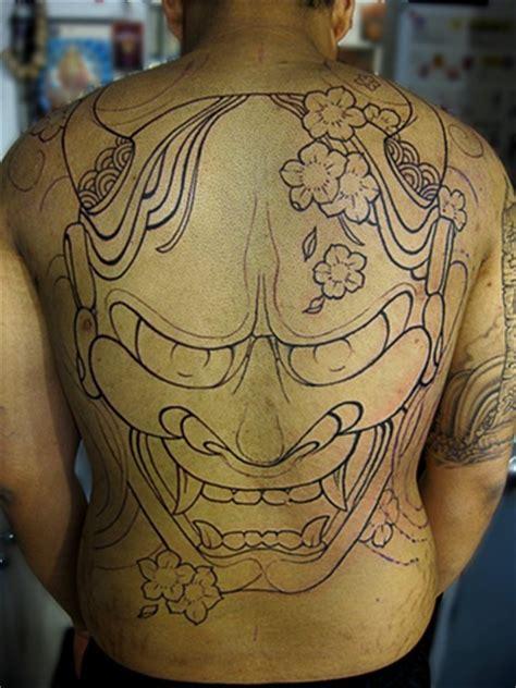 hannya mask tattoo back piece markus anacki custom tattooing