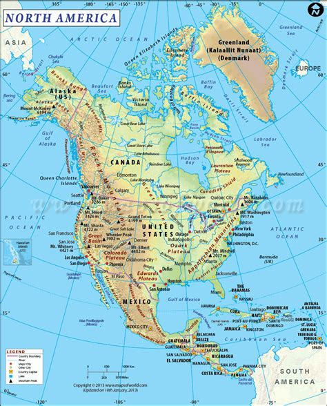 us physical map grand america is the third largest continent and is