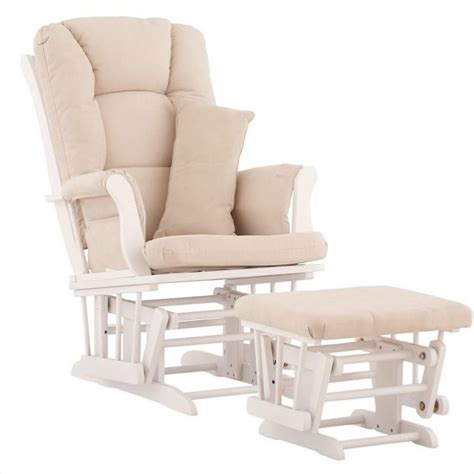 Glider And Ottoman In White With Beige Cushions 06554 511 Glider Chairs And Ottomans