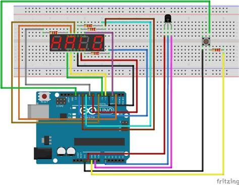 arduino  segment led  temperature sensor  push