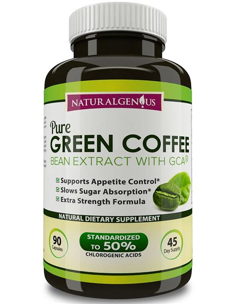 100% Pure Green Coffee Bean Extract with GCA®, True 45 Day Supply/Bott   NATURAL GENIUS