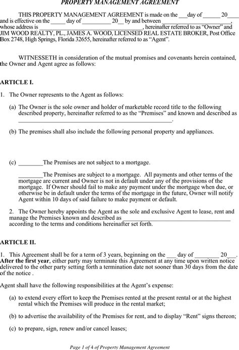 property management agreement template property management agreement free premium