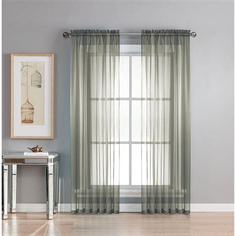 Charcoal Sheer Curtains Window Elements Sheer Sheer Voile Charcoal Grommet Wide Curtain Panel 56 In W X