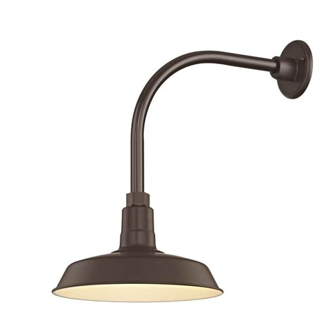 bronze outdoor barn wall light with gooseneck arm and 12
