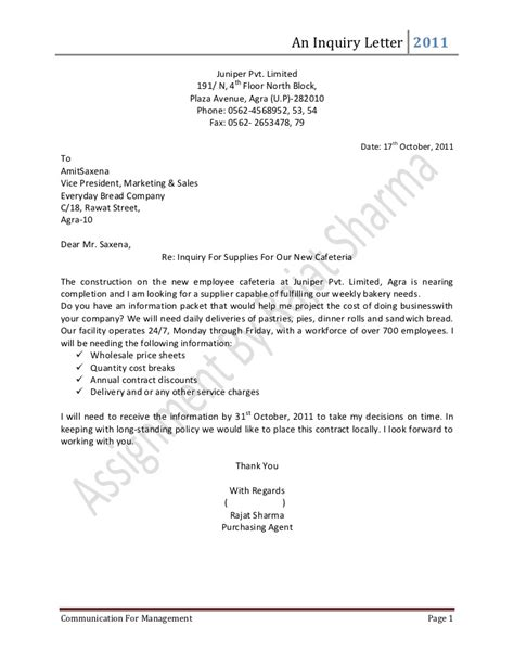 Inquiry Letter For Material Inquiry Letter