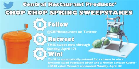 Spring Sweepstakes - central s twitter chop chop spring sweepstakes