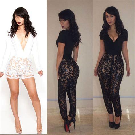 Duvet Coats Fashion Lace Club Bandage Bodycon Jumpsuits Women S
