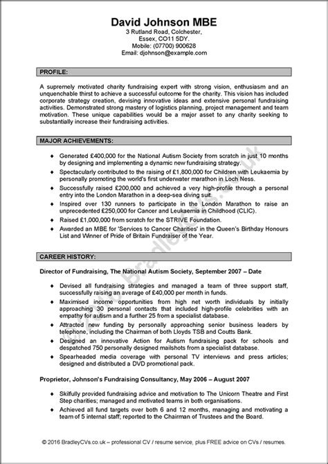 Resume Exles Uk by Free Cv Exle And Free Resume Exle By Bradley Cvs Uk