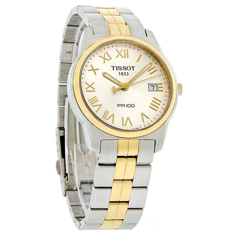 Tissot Pr 100 Gent Silver Two Tone Stainless Steel T1014102203 tissot pr 100 mens two tone silver swiss quartz t049 410 22 033 00 ebay