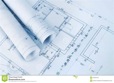 Free House Plans And Designs by Construction Plan Blueprints Royalty Free Stock Image