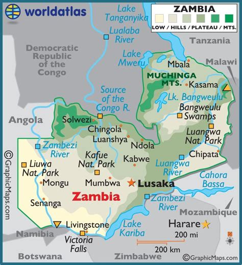 zambia large color map