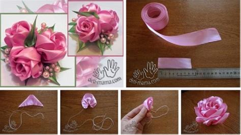 tutorial reben organza how to make simple quick satin ribbon rose step by step
