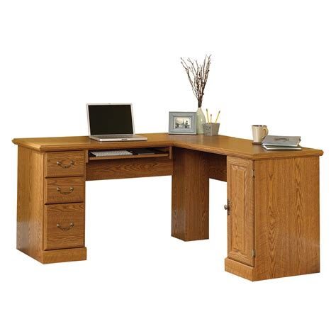 Small Oak Corner Computer Desk Modern Oak Computer Desk In Brown Varnished With Storage Drawers And Cupboard Using Frosted