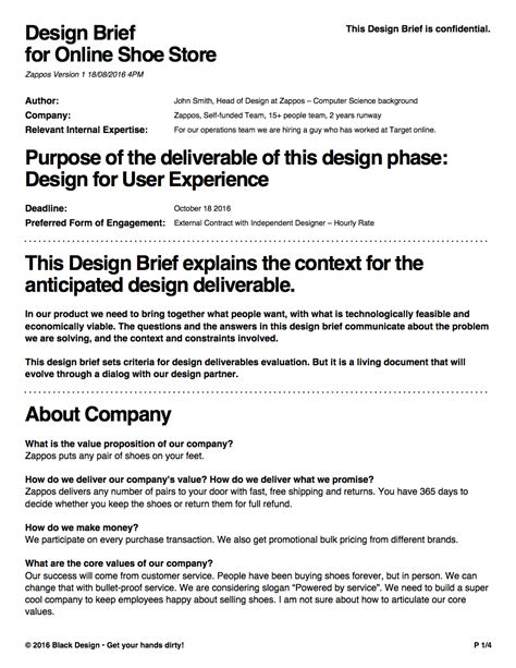 design brief in product design design brief tool black design