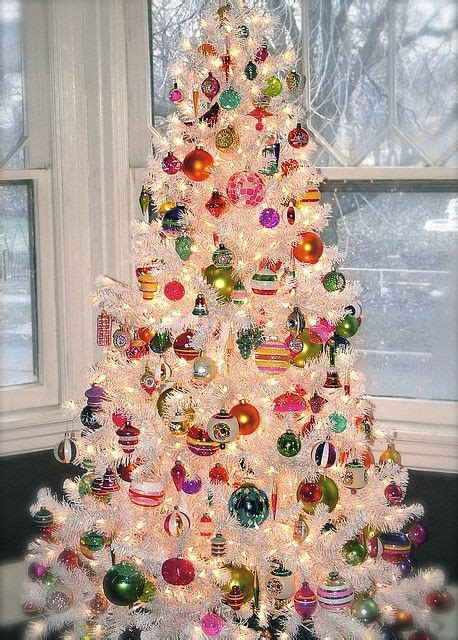 shiny bright christmas ideas shiny brite ornaments on a white tree trees trees and white