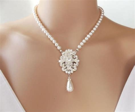 braut collier bridal necklace pearl necklace wedding necklace