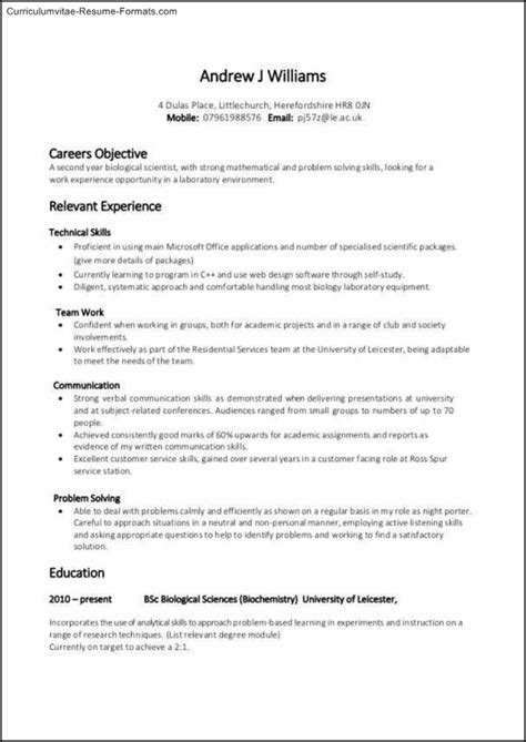 Experience Based Resume Template Free Sles Exles Format Resume Curruculum Vitae Experience Based Resume Template