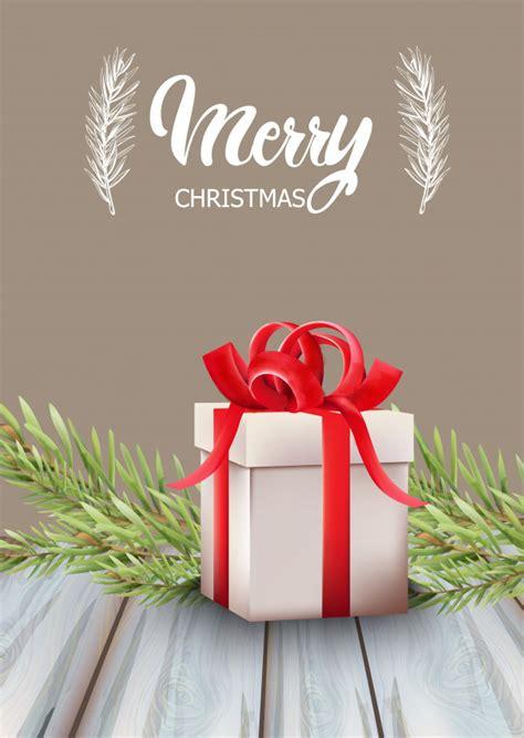 merry christmas gift box  red ribbon  fir tree leaves vector premium