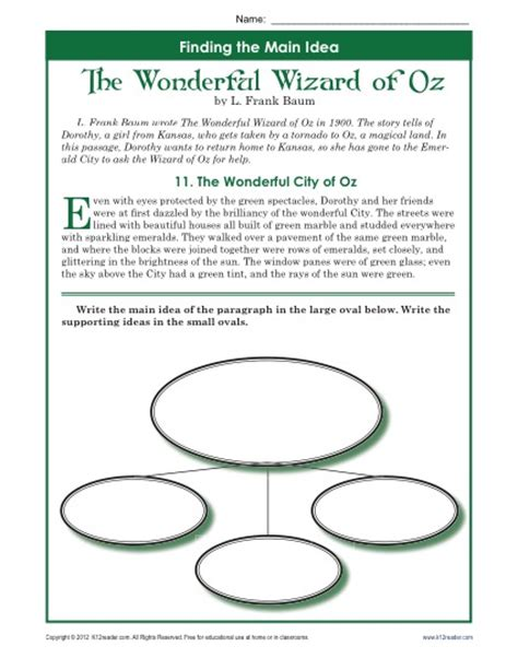 Idea Worksheets 5th Grade by 5th Grade Idea Worksheet About The Wonderful Wizard Of Oz