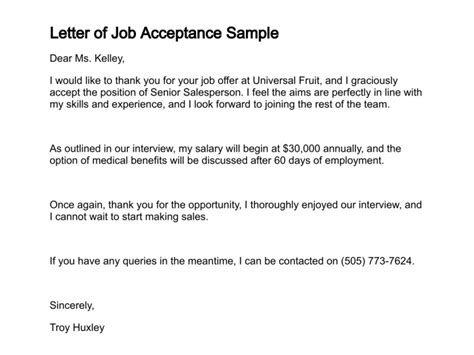 employment offer letter acceptance competent accordingly job write a