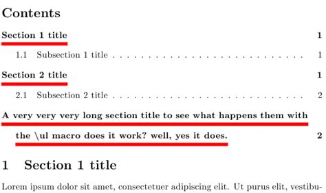 title section tocloft underline the section title text in table of