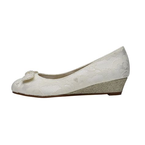 Rainbow Schuhe Ivory by Rainbow Club Zoe Ivory Lace Wedge Shoes Shoes Co Uk