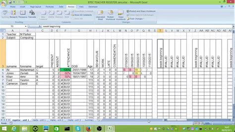 btec tracking spreadsheet