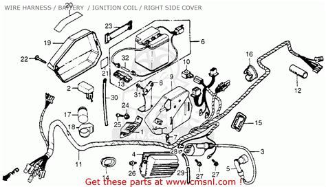 honda nc50 express 1983 d usa wire harness battery ignition coil right side cover