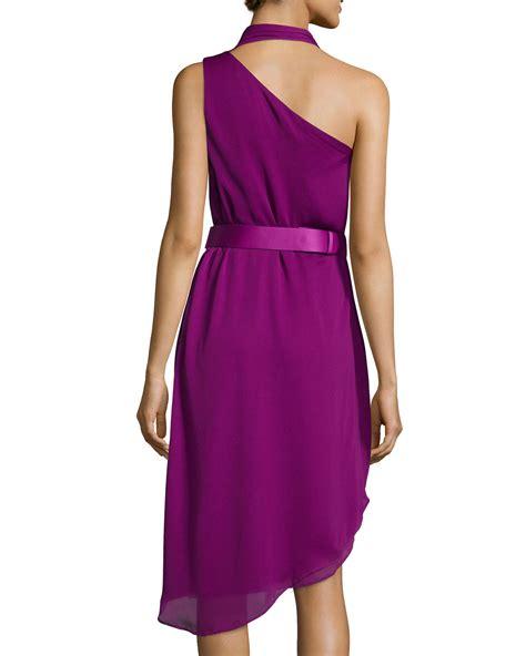 purple drape dress halston sleeveless drape front dress in purple lyst