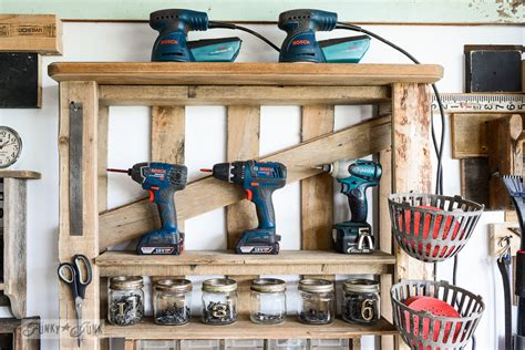 Organize Your Tools On An Enhanced Pallet Shelffunky Junk