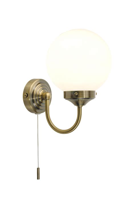 Antique Brass 40w Ip44 Wall Light With Pull Cord Switch Pull Cord Switch For Bathroom Light