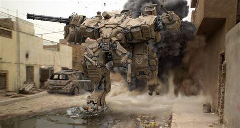 artwork digital art mech robot war military