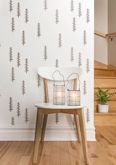 scandinavian wallpaper modern diy art designs siberian taiga scandinavian modern wall stencil large