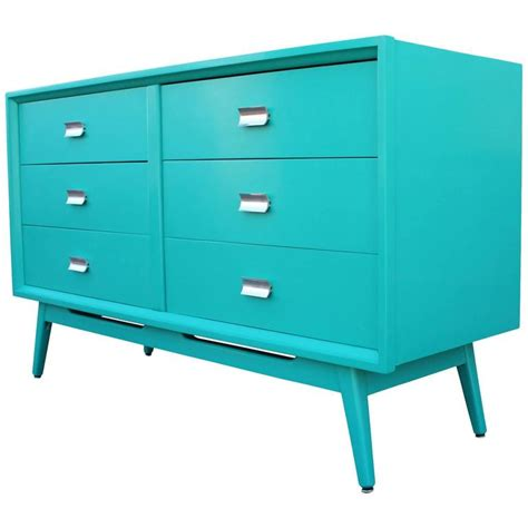 Turquoise Dresser For Sale by Modern Turquoise Lacquered Six Drawer Dresser With Chrome