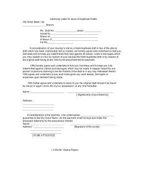 Bank Indemnity Letter indemnity letter forms and templates fillable printable sles for pdf word pdffiller