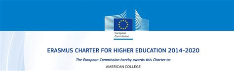 Charter College Of Education Mba by American College Erasmus Charter