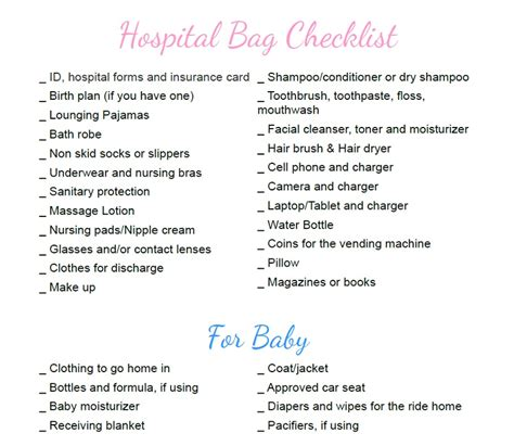 hospital checklist for c section delivery pregnancy hospital bag checklist mommy today magazine