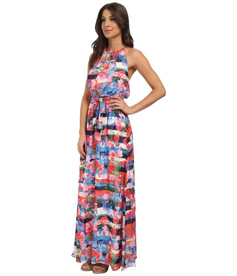 jessica simpson floral dress jessica simpson floral stripe maxi dress in blue lyst