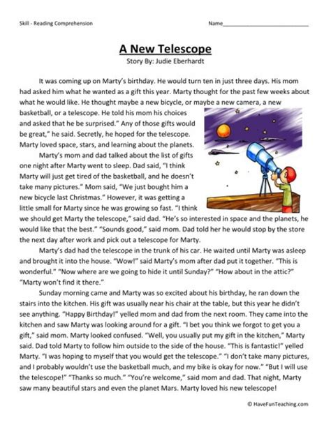 new year 2015 comprehension worksheets reading comprehension worksheet a new telescope