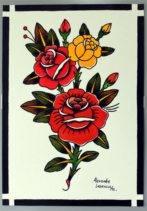 traditonal rose tattoo traditional on