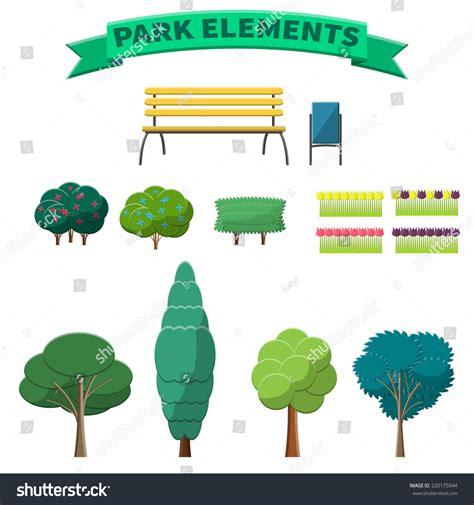 park template vector illustration park elements design website stock