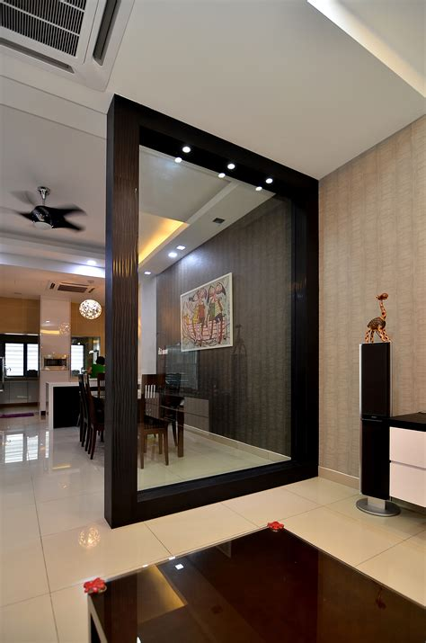 home furnishing design studio in delhi wooden partition with glass to separate dining place from