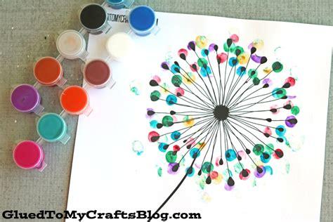 crafts free thumbprint dandelion kid craft w free printable glued