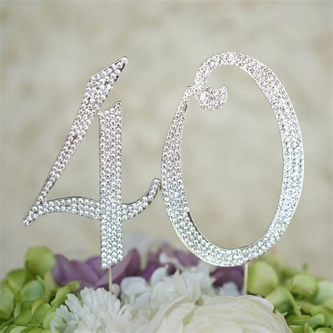 Wedding Anniversary Usa by 40th Birthday Rhinestone Cake Topper Anniversary