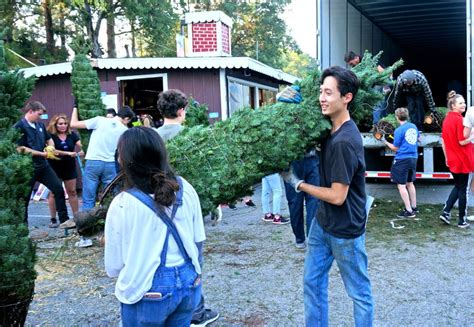 high school youth bring christmas joy to ymca tree sale
