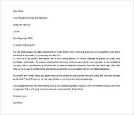 Sle Letter Of Recommendation For Of The Year by Sle Character Letter Template Design