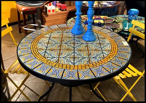 furniture : Mosaic Tile Outdoor Table Fascinating Dining