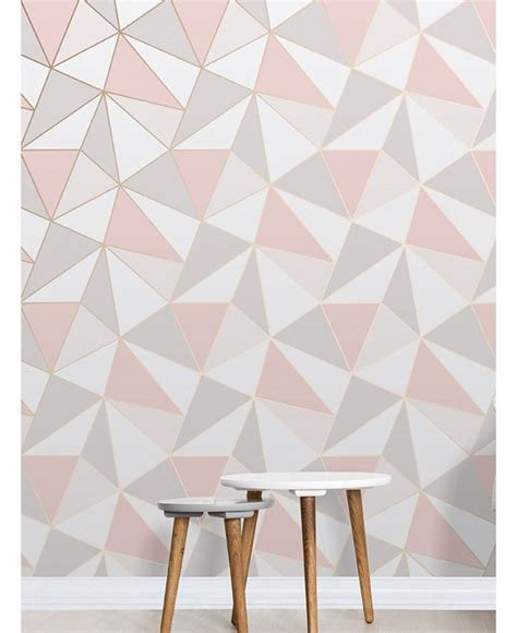 pink and grey pattern wallpaper apex geometric wallpaper rose gold fine decor fd41993